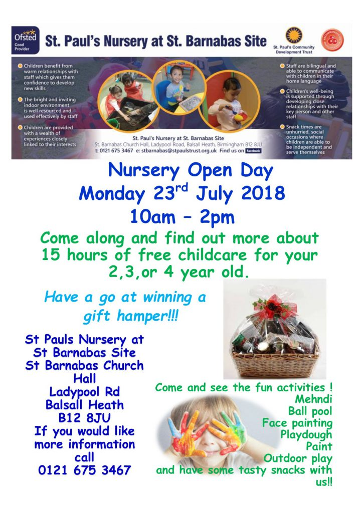 Open Day Poster St. Barnabas July 2018