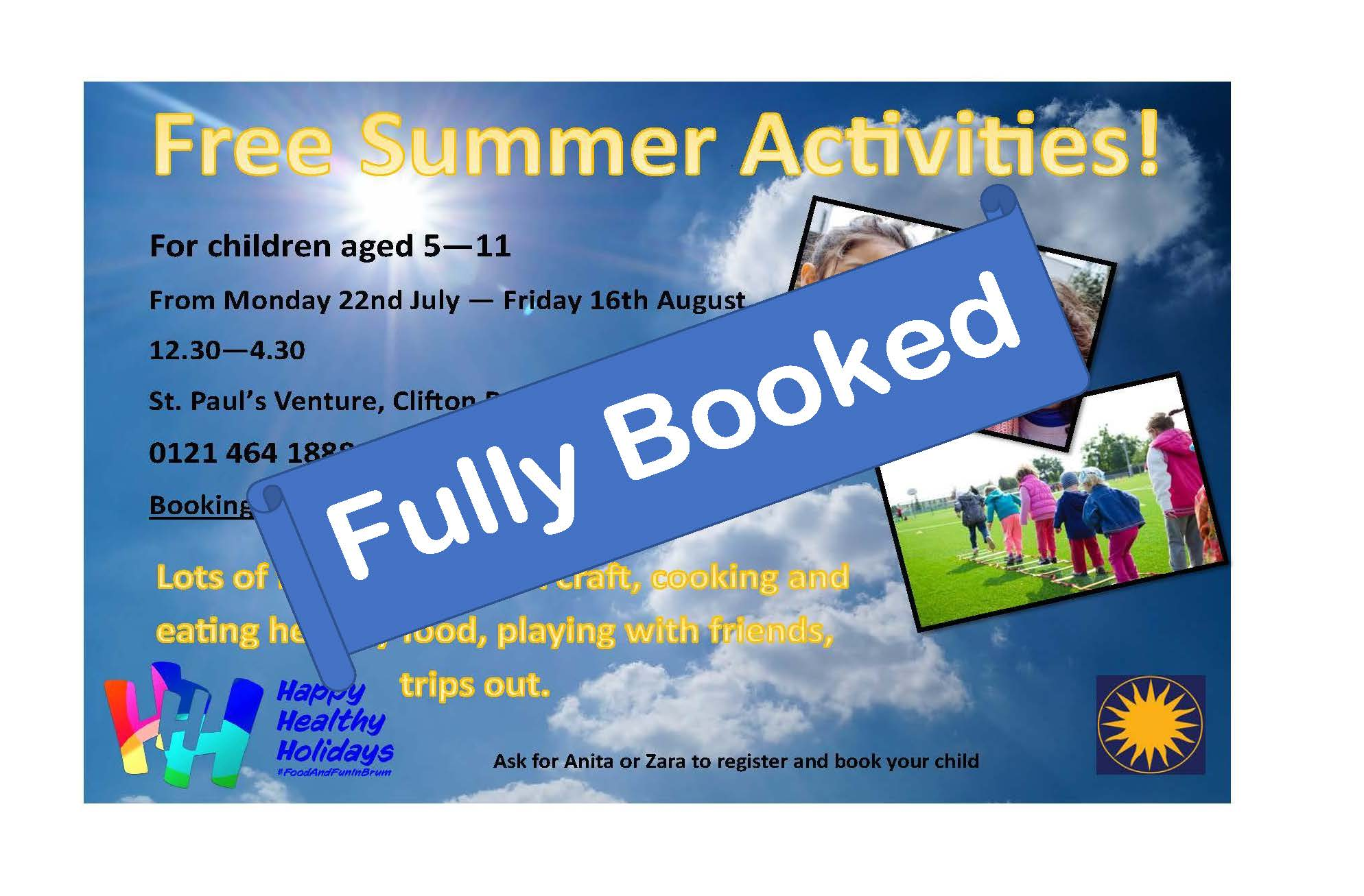 Free Activities Fully Booked Poster