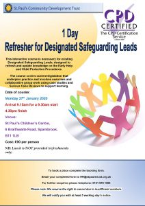 DSL Refresher Training Poster - Mon 27th Jan 2020