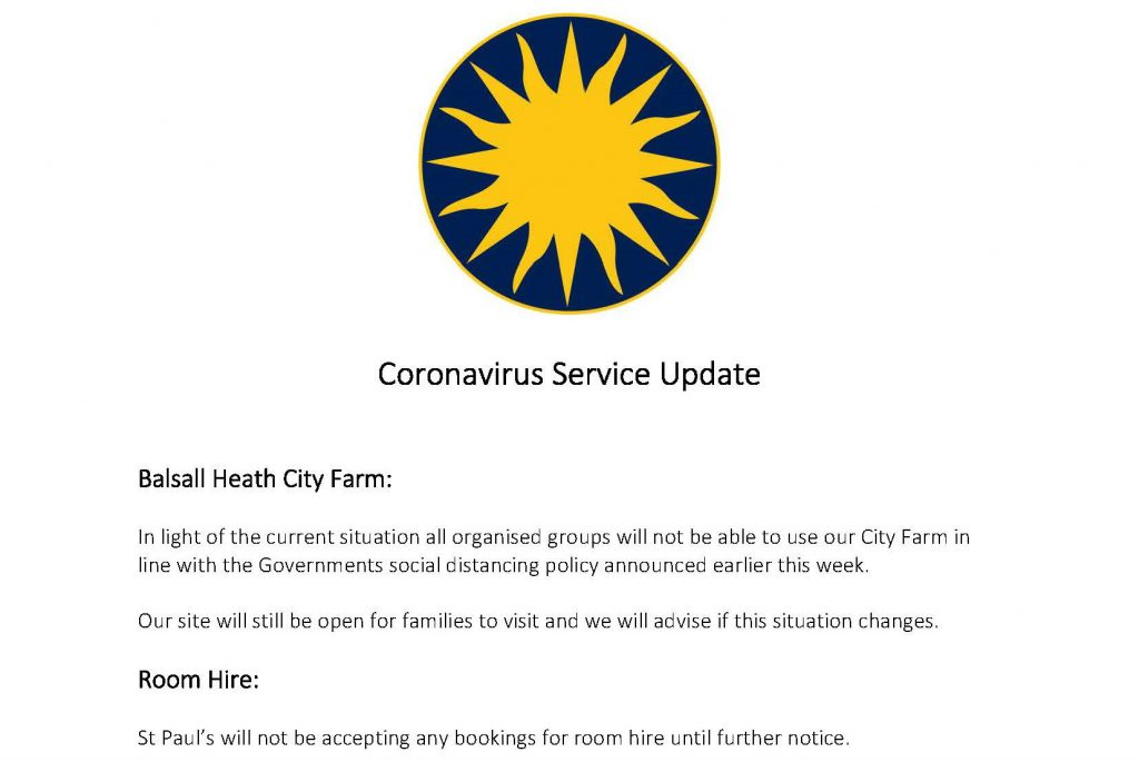 Covid-19 Service Update: Farm Closed to groups, Room Hire Suspended.